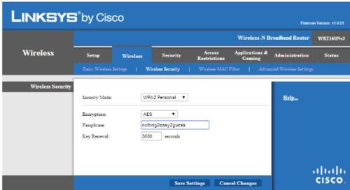 Linksys router setup page screenshot