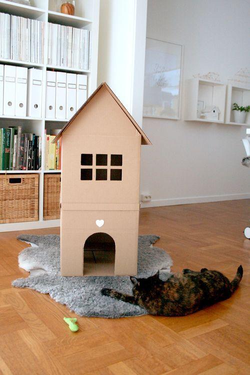cute homemade cardboard house for cat