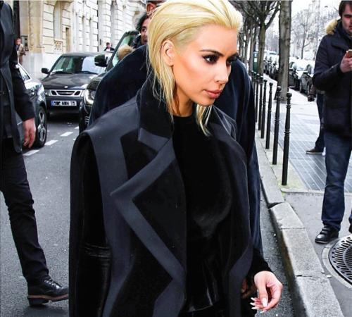 Breaking!! Kim Kardashian Went PlatinumBlonde for Paris Fashion Week