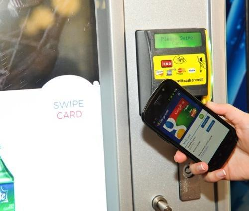 Swiping a phone on an NFC tag