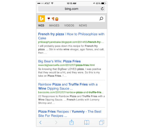 Bing search results featuring a french fry pizza