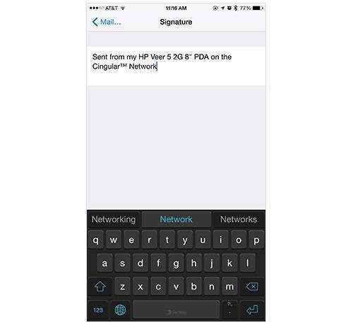 iPhone Signature settings screen