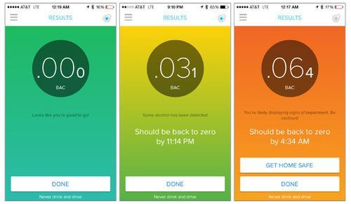 Breathometer app BAC readings