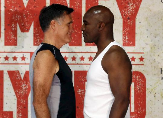 Romney vs. Holyfield: Unlikely duo lace up gloves for boxing bout