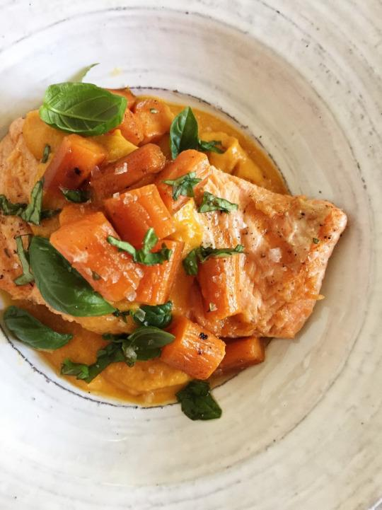 Salmon in Sweet and Spicy Carrot Sauce