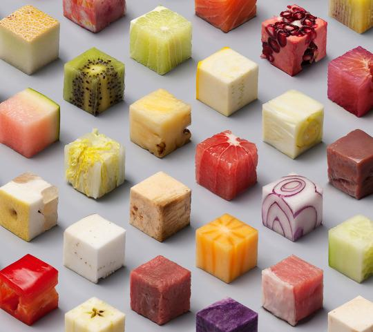 how these 98 identical food cubes were made. Black Bedroom Furniture Sets. Home Design Ideas