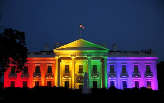 The White House is illuminated in rainbow colors. (Photo: Gary Cameron/Reuters)
