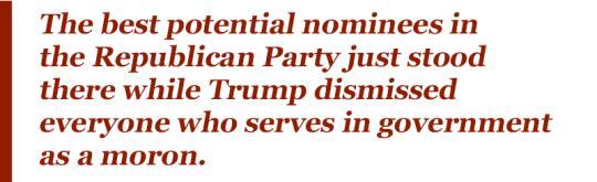 Trump pushes his 'stupid' rivals around