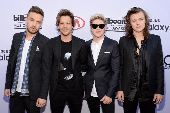 Liam Payne, Louis Tomlinson, Niall Horan and Harry Styles of One Direction attend the 2015 Billboard Music Awards.