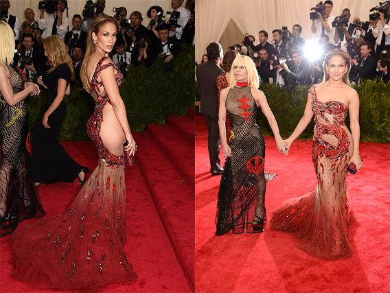 Jennifer Lopez with Donatella Versace, both in Versace.