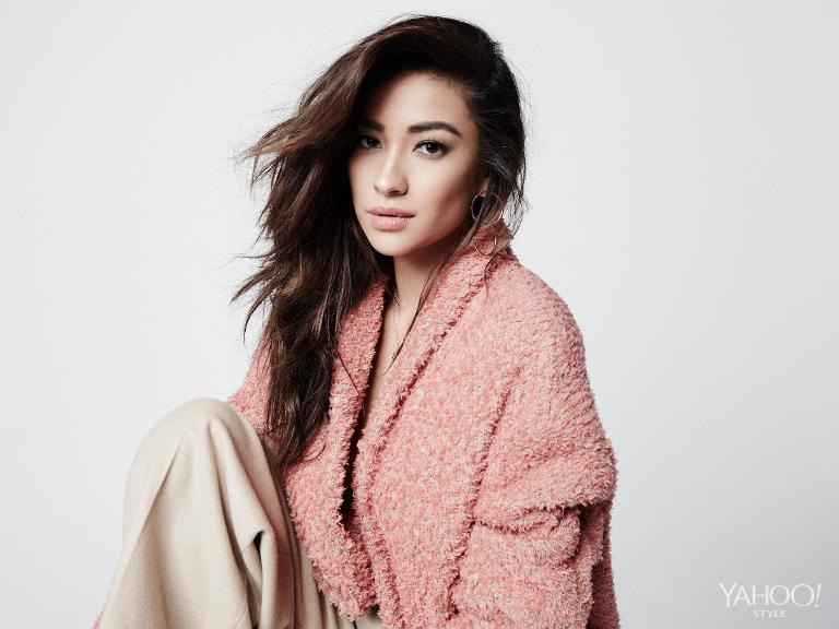 Shay Mitchell in an Isabel Marant pink coat.