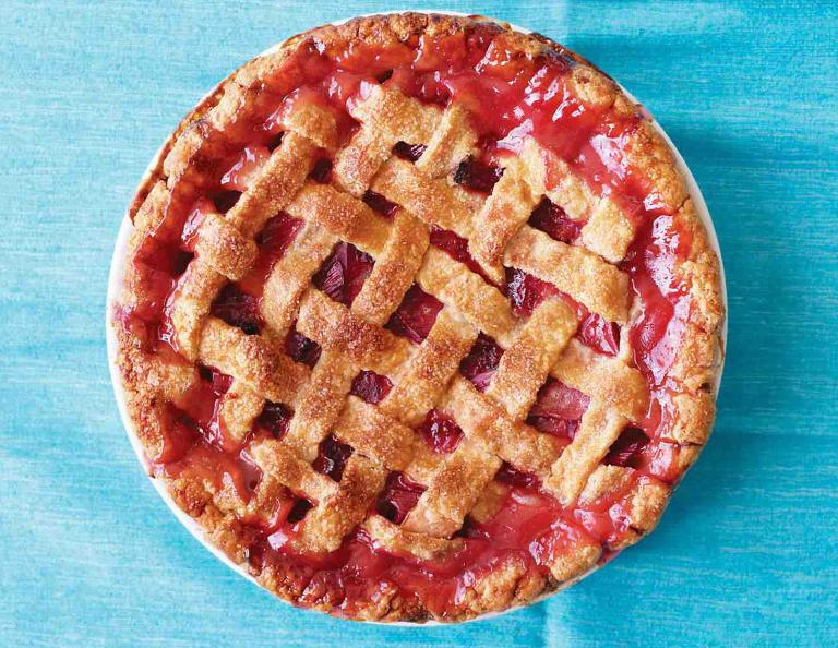 Rhubarb Strawberry Lattice Pie   Red, White, and Blue Dessert Recipes ...