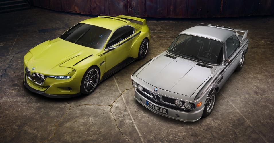 Yellow 2015 BMW CSL Concept and Silver 1972 BMW CSL