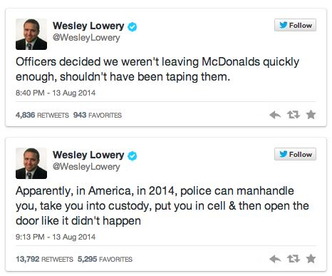 Tweet from Wesley Lowery