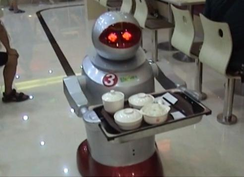 watch robo waiter chinese restaurant staffed by robots. Black Bedroom Furniture Sets. Home Design Ideas