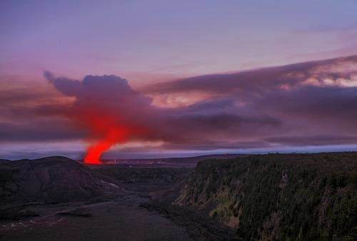 #Daydream: Dusk at Halemaumau Crater in Hawaii Volcanoes National Park