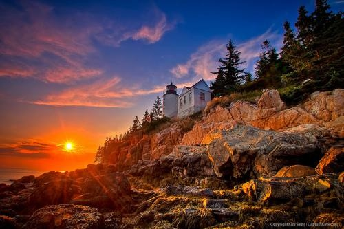 #Daydream: Sunset at Bass Harbor Lighthouse in Acadia National Park