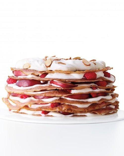Raspberry Nectarine Crepe Cake Forever