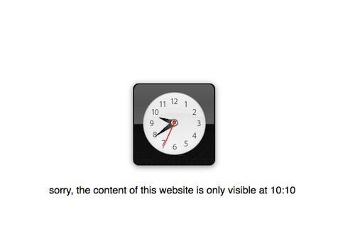 Ten Past Ten Is a Website Whose Content Is Visible Only When the Time Is 10:10