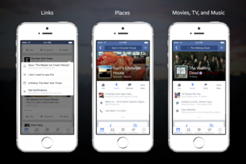 Facebook Now Lets You Save Links, Places, Music, and More for Later