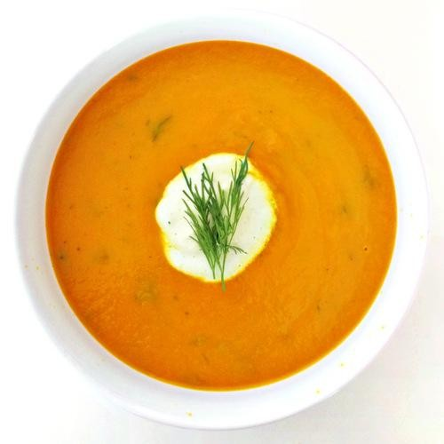 Chilled Carrot Soup with Dill Crema