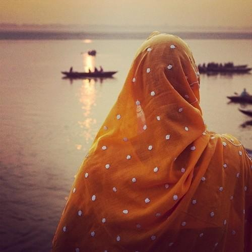 #Daydream: A Woman Looks Out Onto the Ganges in Varanasi, India