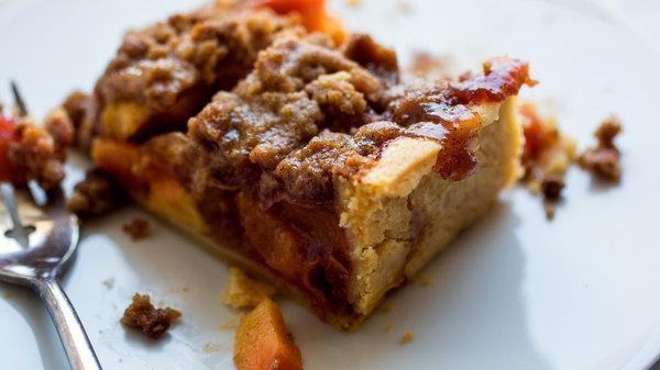 Peach. Crumble. Slab. Pie.