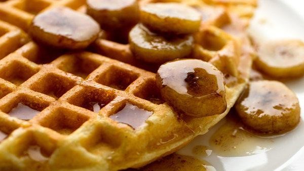 Cornmeal Waffles with Bourbon Syrup