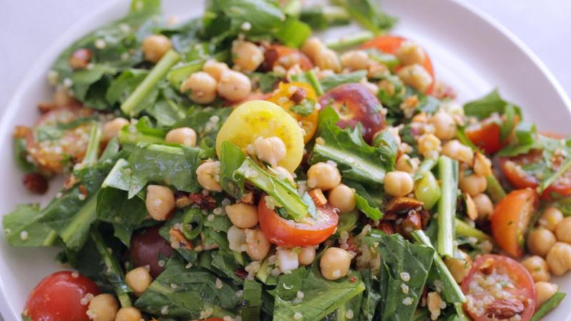 Quinoa. Chickpeas. Dandelion Greens. Lunch