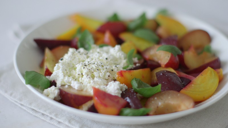 The Summeriest Beet, Plum, and Ricotta Salad
