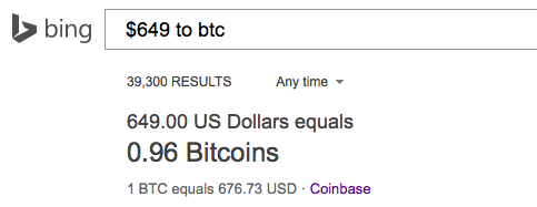 The Bing Search Engine Can Now Convert Dollars to Bitcoin