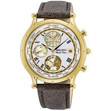 【台南 時代鐘錶 SEIKO】精工 限量 SPL060P1 航海30周年 羅馬字 皮革錶帶 三眼男錶 白 40mm