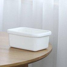 鄉村雜貨小市集*zakka 日雜款白色TPE蓋長方型琺瑯保鮮盒儲存盒便當盒奶油盒(純白款)(中)