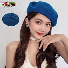 Smile 復古日系百搭純色夏天薄款棉紗超顯白油畫藍貝蕾帽 畫家帽 另有3色 AC186