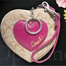 Coach Heart 63221 卡哇伊 卡其織布 拉愛心造型 拉鍊鑰匙圈零錢包可當小手拿包 免運費 愛Coach包包