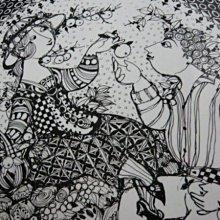 德國 Rosenthal Bjorn Wiinblad 羅森泰比昂單色素描四季大盤系列(秋)