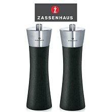 德國 Zassenhaus 六段粗細研磨 14cm 紳士黑 胡椒+鹽 2入研磨罐 山毛櫸原木 香料罐