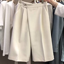 西裝褲休閒短褲 高腰純色西裝五分褲 艾爾莎【TAE8813】