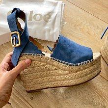 Chloe 繞腳踝涼鞋 厚底鞋 楔型鞋 草編鞋 渡假風? 天空藍色 麂皮 霧金釦 超美單品 35 近新現貨?