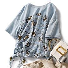 很時髦 法式圓領印花棉拼雪紡絲顯瘦襯衫 小中大大尺碼齊全 萌蔓物語【KX3408】韓天絲棉衫氣質女上衣
