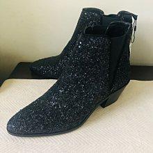 Zara 灰黑色亮片 切爾西 粗跟短靴 踝靴 38