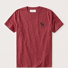 Maple麋鹿小舖 Abercrombie&Fitch * AF 磚紅色圓領麋鹿LOGO素面短T*( 現貨M號 )