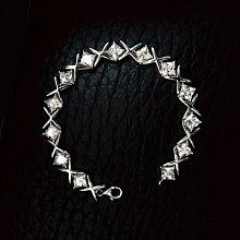 降價滿鑽手鍊飾品配件珠寶40分鑽石交叉手鍊手環純銀包白金手鏈 滿鑽爪鑲高檔飾品高碳仿真鑽石 鉑金質感鑽寶