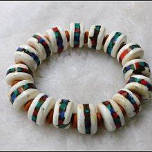 【雅之賞 藏傳 密宗 佛教文物】特賣*尼泊爾天然老硨磲16-16.5mm手珠~303191