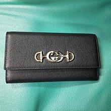 友人寄賣/二手 Gucci新款雙G交疊壓釦黑色真皮長夾
