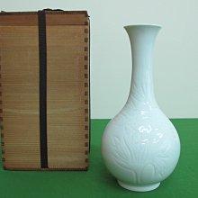 日本國家無形文化財 奥川忠右衛門 造 白磁 白瓷 花彫文 鶴首 花瓶 花入 華道具(非鐵壺 銀壺 香爐)