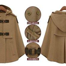 熱銷好評不斷 個性設計款披肩短大衣 軍裝斗篷連帽毛呢外套 艾爾莎【TAE8607】