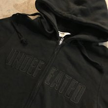 ☆LimeLight☆ Undefeated UNDFTD Tackle Zip Hood 帽夾 連帽外套 刺繡 全黑