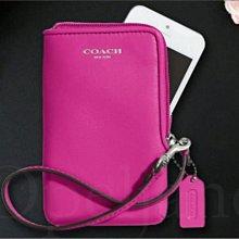 官網現貨真品 COACH 66213 桃紅色真皮 手拿包 萬用包 多信用卡片夾層可放手機 免運費  iCoachBag