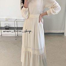 正韓:氣質 雪紡後綁帶長洋裝(2色)